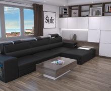 Sedežne garniture Šulc Eva L - črne barve