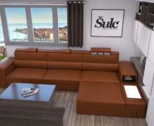 Sedežne garniture Šulc Eva L - oranžne barve