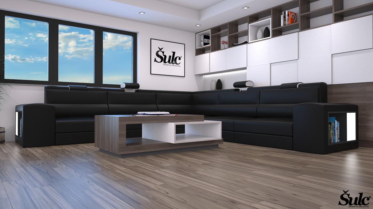 Sedežne garniture Šulc Eva XL - črne2 barve