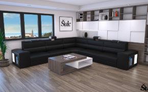 Sedežne garniture Šulc Eva XL - črne barve