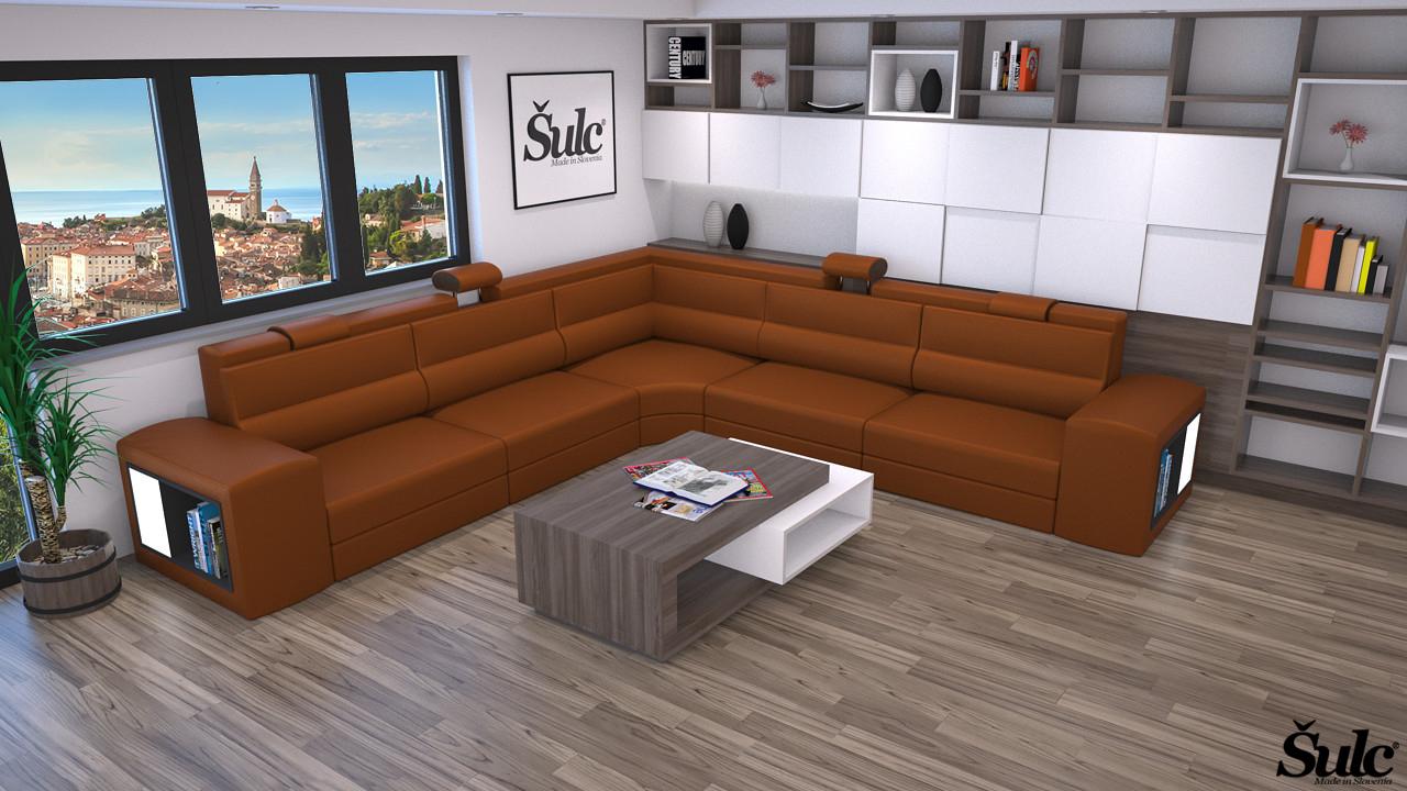 Sedežne garniture Šulc Eva XL - rjave barve