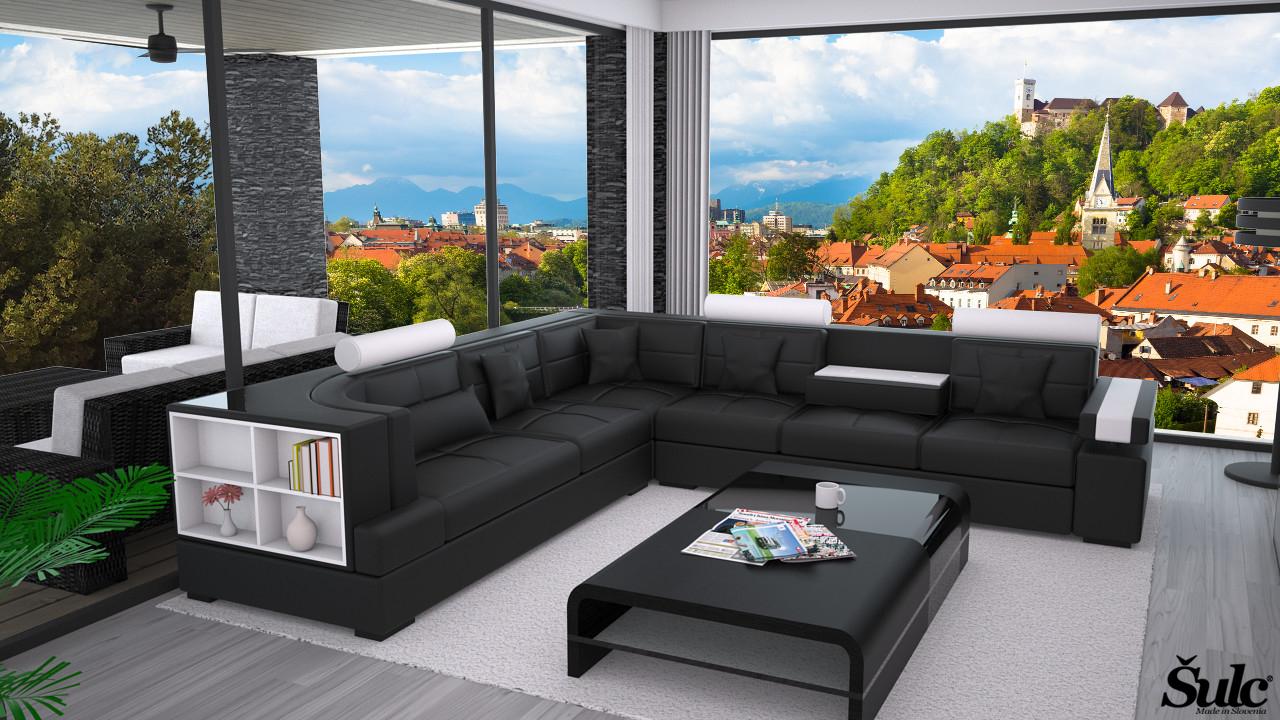 Sedežne garniture Šulc Ajda XL - črne barve
