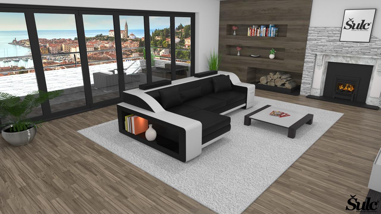 Sedežne garniture Šulc Klara L - črne barve