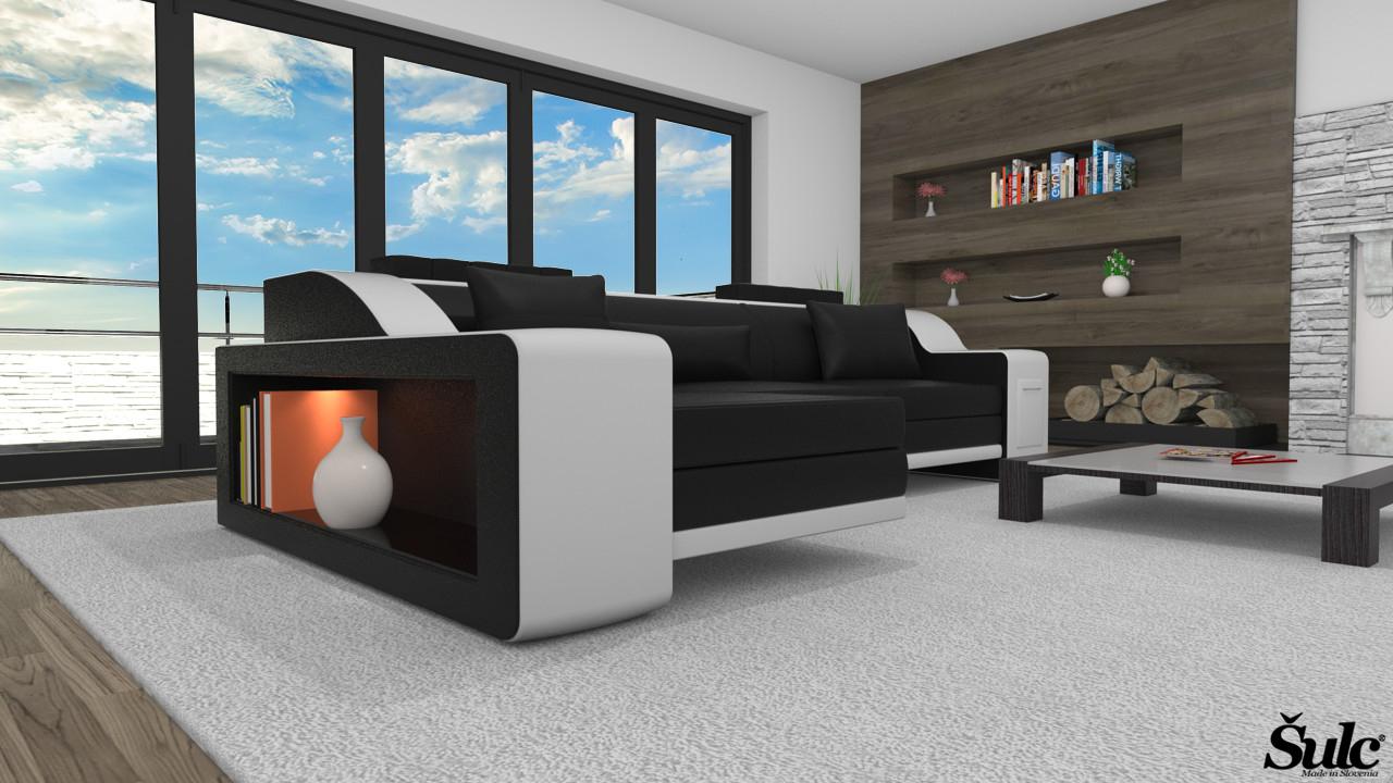 Sedežne garniture Šulc Klara L - črne2 barve