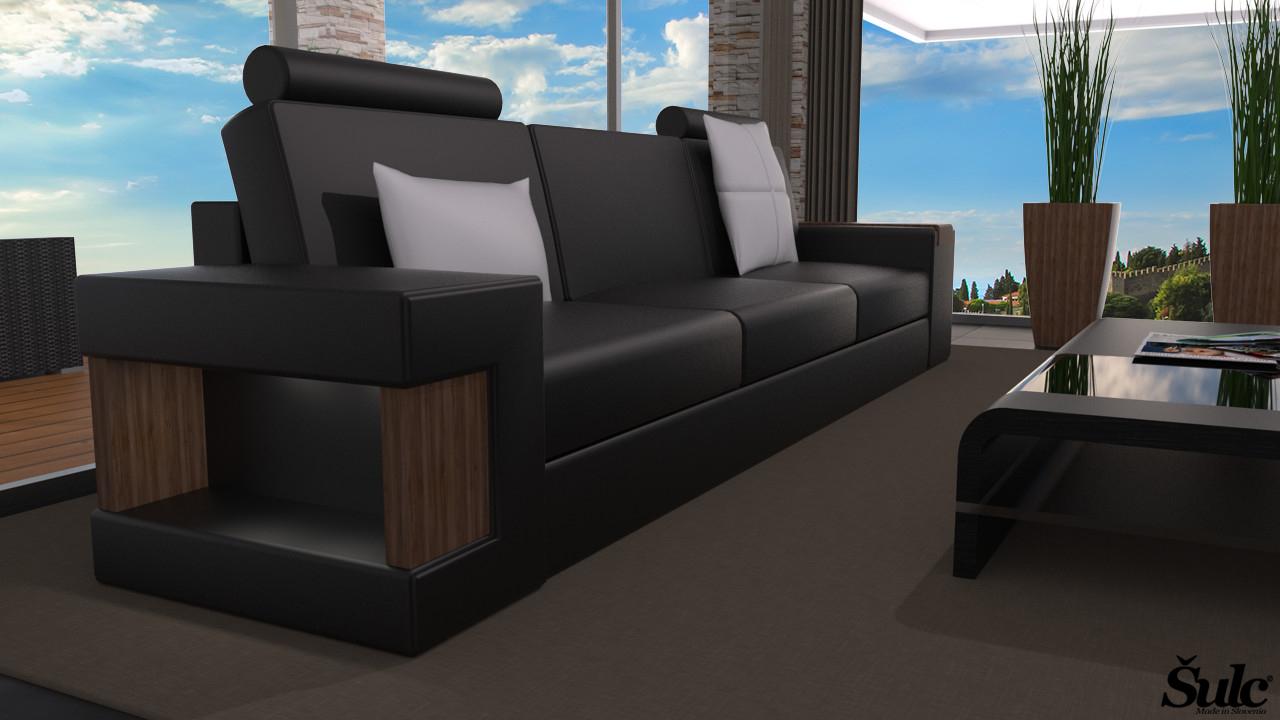 Sedežna garnitura Dora trosed - črne2 barve