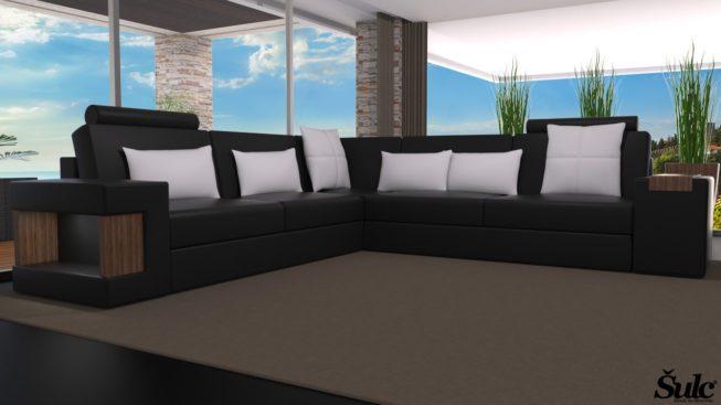 Sedežne garniture Šulc Dora XL - črne2 barve
