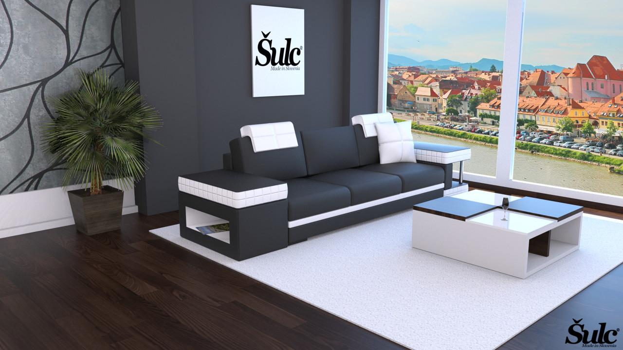 Sedežne garniture Šulc Franja trosed - črne barve
